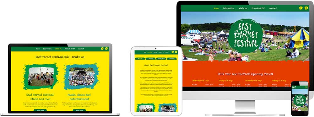 EBF website showing on all devices