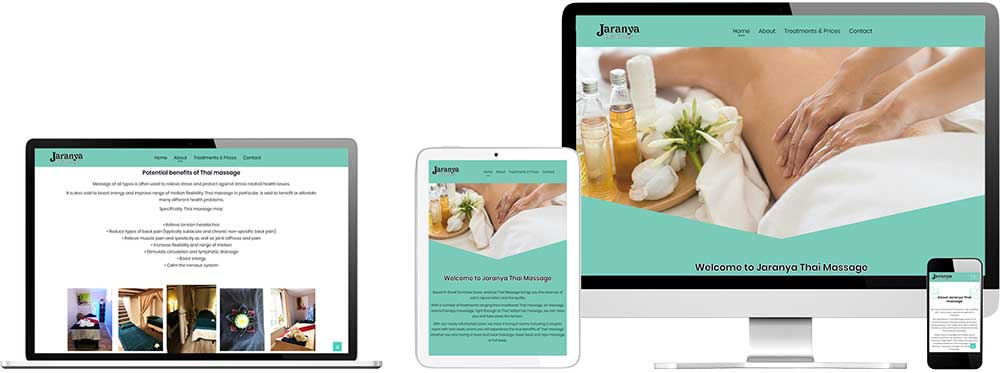 Website case study for Thai Massage company Website Snap
