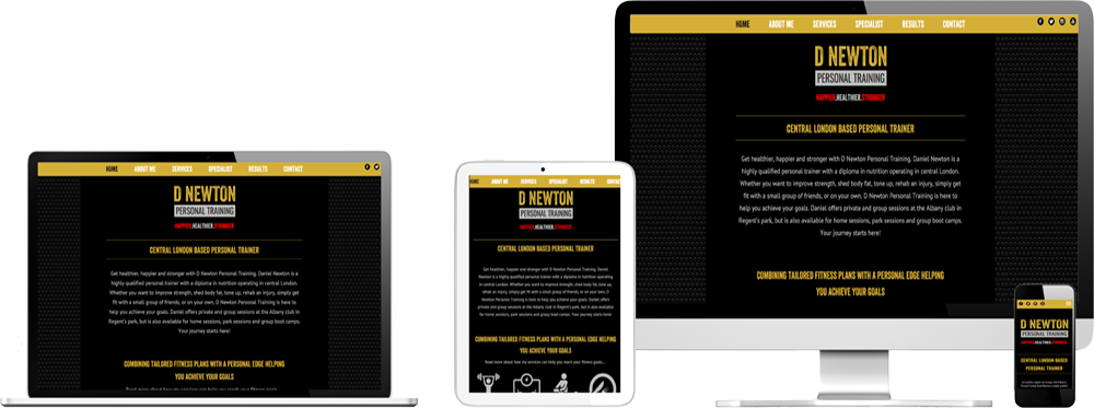 Website case study for personal trainer Website Snap